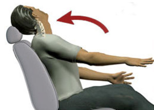 Model of man thrusting backwards shows common whiplash accident